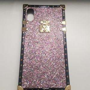 "Case for iphone XR 6.1"" black-pink-purple glitter"
